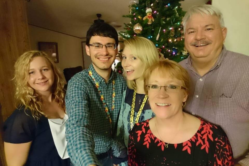 Reality Winner (L) with her mother, sister and other family members on Christmas in 2016.